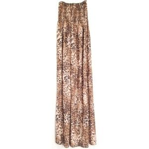 Leopard Strapless Maxi Dress